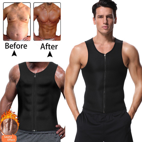 Miss Moly Mens Zipper Neoprene Waist Training shaper Tops Slimming Vest Shapewear Control Shapewear Trainer Girdle Belt Trimmer