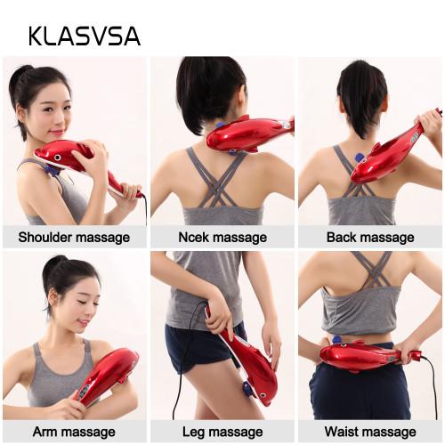 KLASVSA Electric Dolphin Full Body Shiatsu Massager Hammer Shoulder Lumbar Acupressure Vibrator Shoulder Waist Stick Pain Relief