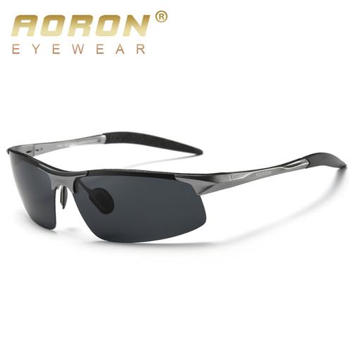AORON Driving Polaroid Sun Glasses Aluminum Frame Sports Sunglasses Men Polarized Driver Retro Goggles Anti-glare Goggles Oculos