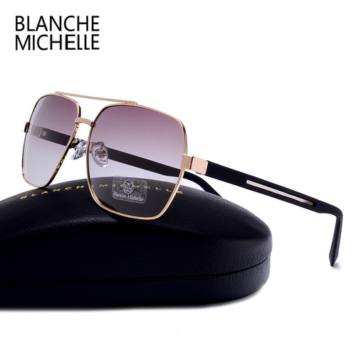 High Quality Square Sunglasses Men Polarized UV400 Fashion Sunglass Mirror Sport sun glasses Oversized Driving Gold frame oculos