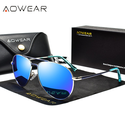 AOWEAR Brand Designer Aviation Sunglasses Men Polarized Mirror Driving Goggles Pilot Sun Glasses Women HD Aviation Shades Gafas