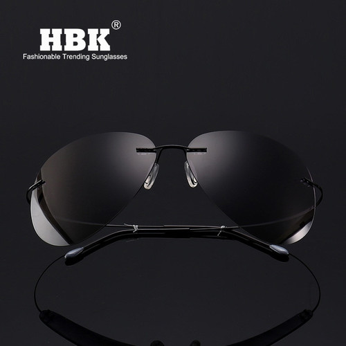 HBK 2019 Ultralight Square Titanium Polarized Sunglasses Rimless Driving Aviation Sun Glasses Oculos De Sol UV400 Gift PM0074