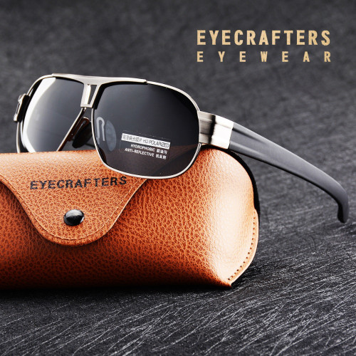 Eyecrafters Men's Polarized Sunglasses Gun Metal Designer Driving Sun Glasses For Men Sunglasses Retro Oculos Male