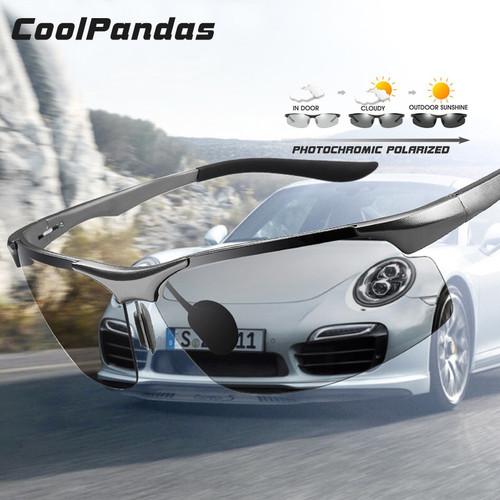 Coolpandas Driving Photochromic Polarized Sunglasses Men Aluminum Day Night Vision Goggles Sun glasses oculos de sol masculino