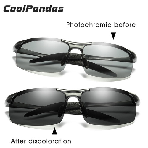 CoolPandas Brand Designer Aluminum Magnesium Photochromic Polarized Sunglasses Men Driving Day and Night Vision zonnebril mannen