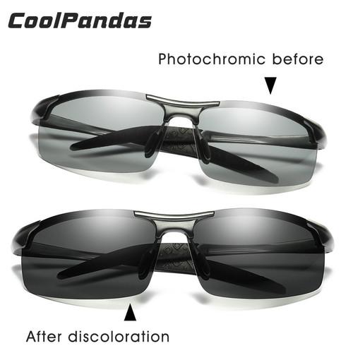CoolPandas Brand Designer Aluminum Magnesium Photochromic Polarized Sunglasses Men Driving Day and Night Vision zonnebril mannen