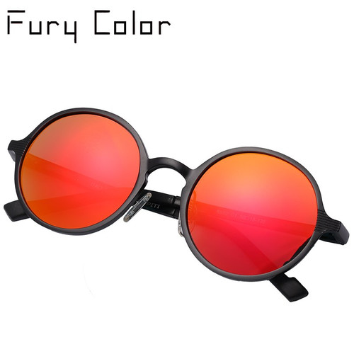 Aluminium Steampunk Round Sunglasses Men Women Anti-UV Polarized Metal Frame Retro Sun Glasses driving Mirror gafas de sol