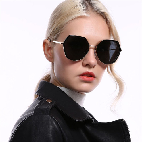 Hexagon Black Sunglasses Women Luxury Brand Designer Small Square Sunglasses Men Metal Frame Driving Fishing Sun Glasses lady