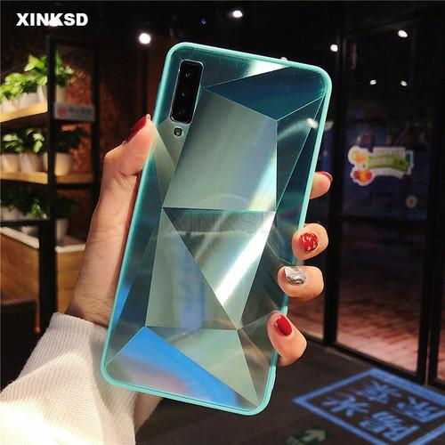 3D Diamond Glitter Mirror Case for Samsung Galaxy A7 A750 A9 A6 A8 2018 S8 S9 Plus S7 Note 9 8 Cover Silicone Soft Candy Case