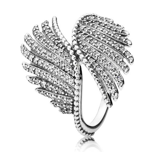 30% Silver Ring Pink Hearts Lavish Sparkle Majestic Feather With Crystal Ring 925 Sterling Silver DIY Europe Jewelry