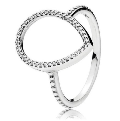 Original 925 Sterling Silver Ring Pave Logo Signature With Crystal Pan Rings For Women Wedding Party Gift Fine Jewelry