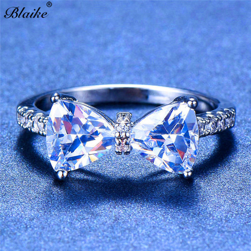 Blaike 925 Sterling Silver Filled Four-Claw Bow Ring For Women Cute Cubic Zirconia Rings Fashion Jewelry Birthstone Gift