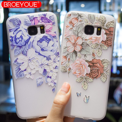 BROEYOUE Case For Samsung Galaxy S9 S8 S7 Edge Plus 3D Relief Soft TPU Phone Case For Samsung J5 J3 J7 A5 A3 A7 2017 2016 Cases