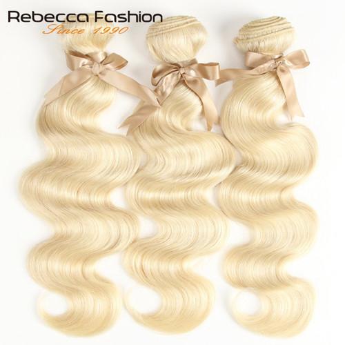 Rebecca 613 Honey Blonde Bundles Body Wave Brazilian Hair Weave Bundles 100% Remy Hair Extensions 1/3/4 Bundles 10 to 26 Inches