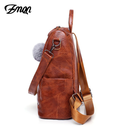 ZMQN Backpack School 2019 Women Bag Waterproof Backpack For Woman Shoulder Vintage Big Capacity PU Leather Travel Back Pack C119