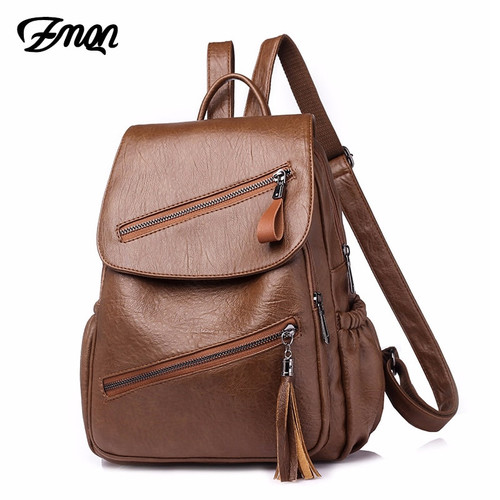ZMQN Women Bags Backpack Vintage Female Back Pack For Girls Backbag Woman 2019 Preppy Style Soft Leather Backpack Sac A Dos C108