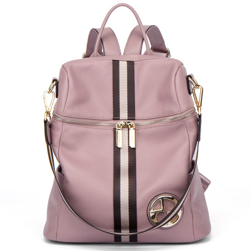 BOSTANTEN Women Backpacks Genuine Leather Backpack Female School Bag Pink Stripe Multifunctional Leather Back pack on Shoulder