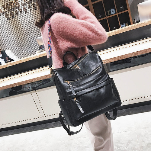 Retro Large Backpack Women PU Leather Rucksack Women's Knapsack Travel Backpacks Shoulder School Bags Mochila Back Pack XA96H