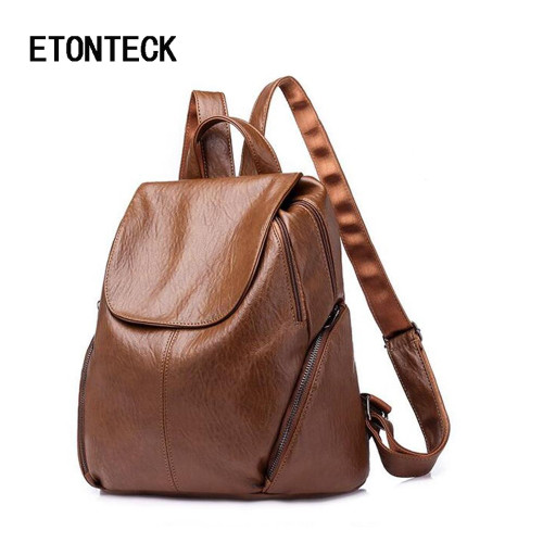 ETONTECK 2018 New Fashion Women Backpack Female Rucksack Leisure Laptop Bagpack Soft PU Leather Ladies Daliy Travel Back Pack
