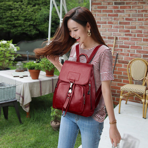2018 Backpacks For Girls Leather Women Travel Shoulder Bag High Quality Ladies Bagpack Large Capacity Backpack Female Back Pack