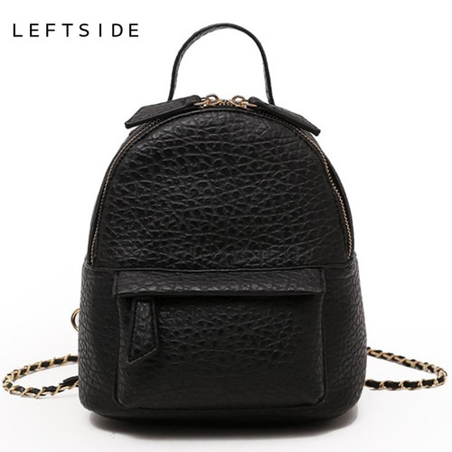 LEFTSIDE Female Small Backpack Women Crossbody Bags Ladies PU Leather Back Pack Simple Style Backpacks For Girls Travel Bagpack