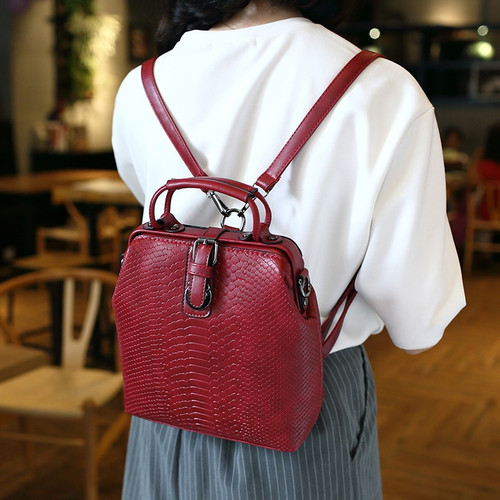 Fashion Women Backpacks Snakeskin Serpentine PU Leather Backpack For Young Teenagers Girls Vintage Women Bags Female Back Pack