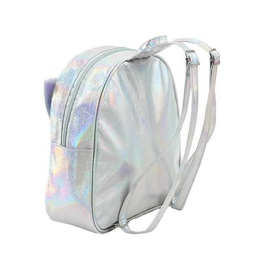 New 2019 Laser Leather Mini Backpack For Women Sequins Unicorn Mochila Girls Travel Back Bags Silver Fashion School Bagpack