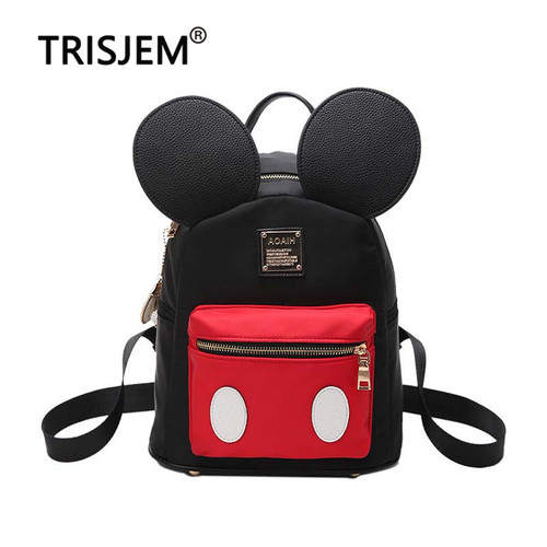 Women Cute Cute Ears Backpack Minnie Female School Bag Small Nylon Kids Bag Pack Kawaii Mini Back Bag Rucksacks For Girls 2019