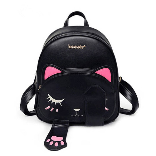 High Quality Cat Ears Backpack Female Funny PU Leather Anime Back to School Bag for Teenagers Girls Small Backpacks Mochila
