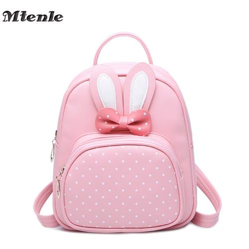 MTENLE Mini Small Backpacks For Teenage Girls Bunny Cute Backpack Women Leather Polka Dot Bow Back Bag Pink Mochila Feminina FI
