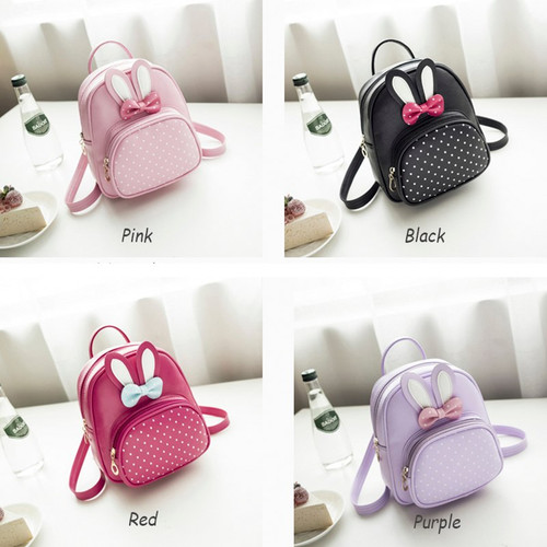 MTENLE Mini Small Backpacks For Teenage Girls Bunny Cute Backpack Women Leather Polka Dot Bow Back Bag Pink Mochila Feminina FI