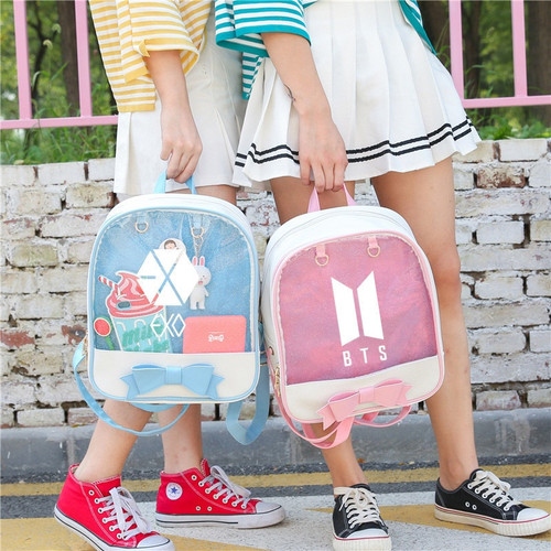 Bts Exo Blackpink Twice Got7 Monsta X Transparent Backpacks For Girls Female Travel Backpack Schoolbag Pack