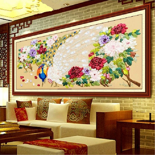 3d Cross Stitch Kit Needlework Toolkit DIY Ribbon Embroidery Painting Peacock Peony Handicrafts Needlework Gift Wall Painting