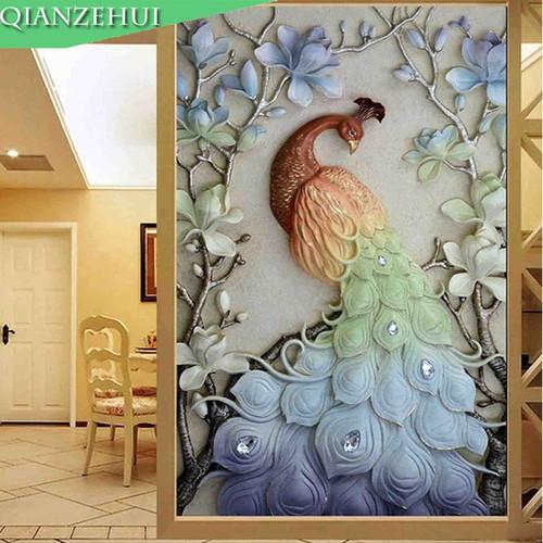 QIANZEHUI,Needlework,DIY peacock lily magnolia Cross stitch ,Magpie Plum landscape dramatically cross-stitch ,Wall Home Decro