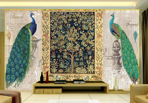 3d wallpaper custom photo wallpaper room murals tree of life painted peacock painting 3d wall mural wallpaper for living room