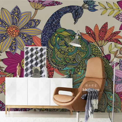 custom wall mural Classical Peacock Flower Hand Painted Background Wall bedroom living room wallpaper 3D stereo bedroom mural
