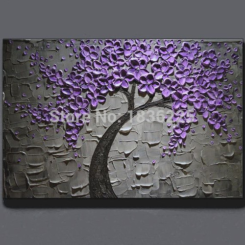 Handmade Oil Painting On Canvas Purple Flower Tree Oil Painting Modern Abstract Wall Art Living Room Decor Knife Picture