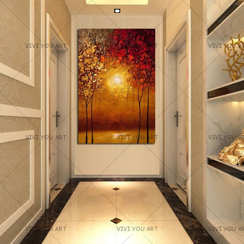 Drawing Colorful Picture Home Decorative Handmade Wall Art Acrylic Painting Hand Painted Red Gold Yellow Oil Painting on Canvas