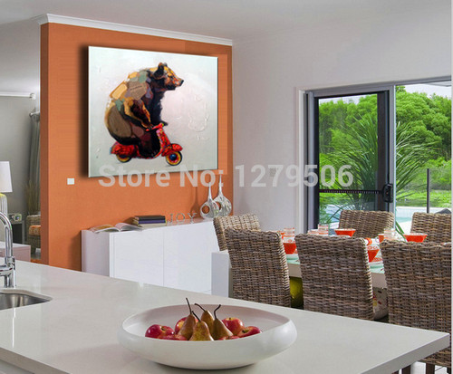 Handmade Modern Animal Picture Abstract Decorative Lovely Bear PictureOil Painting On Canvas Wall Art For Living Room Decor