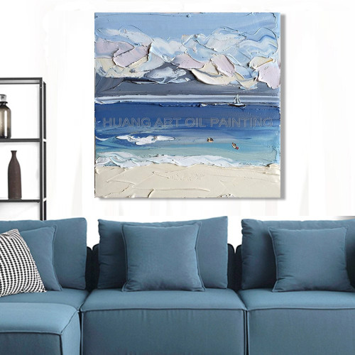 Handmade Knife Seascape Oil Painting On Canvas Modern Creative Thickness Landscape Painting for Living Room Wall Decor