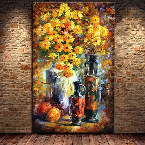 Large Handmade Acrylic Floral Paintings Modern Abstract Wall Art Pictures Handpainted Yellow Daisy Flower Oil Painting on Canvas