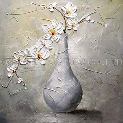 Skilled Artist Handmade High Quality Modern Vase Flower Oil Painting on Canvas Handmade White Flower Oil Painting for Wall Art