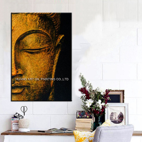 Best Wall Decoration Handmade Buddha Portrait Painting On Canvas Hand-painted Abstract Modern Half Buddha Face Art
