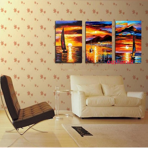 Handmade Pictures Landscape Painting On Canvas Oil Painting Sunrise Boat Handpainted Living Room Wall Decor Art Group Paintings