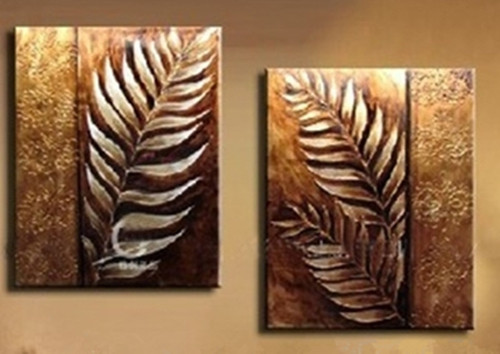 Hand Painted Abstract Gold Leaf Oil Painting on Canvas Modern Home Decor Wall Art Handmade Acrylic Leafs Paintings Set 2 Panels