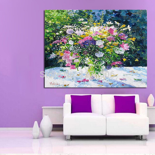 Handmade Abstract Beautiful Pot Flower Art Oil Painting On Canvas For Living Room Decor Hang Group Of Paintings