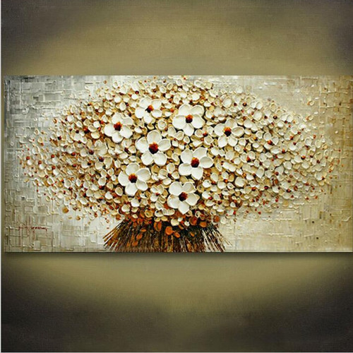 100% Handmade Modern Abstract Oil Painting On Canvas A Bunch Of Beige Flowers Modern Home Living Room Wall Decor Art Picture