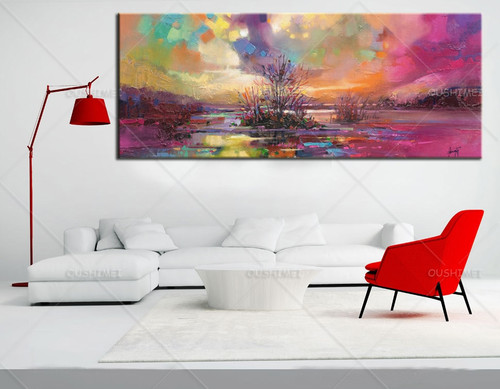 2019 New Artist Painting Handmade High Quality Sky Oil Painting On Canvas Wholesale Unique sea Abstract Landscape Paintings
