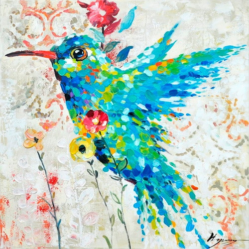 Humming Bird Hand Painted Oil Painting On Canvas Colourful Animal Modern Handmade Poster For Wall Art Decor In Bedroom