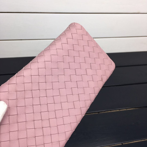 High quality New 2018 Ladies lambskin Long wallets with leather wristlet Sheep Leather Purse Hand woven genuine leather IS1350